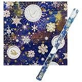 パンチスタジオ 【クリスマス】 ラッピングペーパー | 包装紙 (ブルー×ハト×雪の結晶) 42504