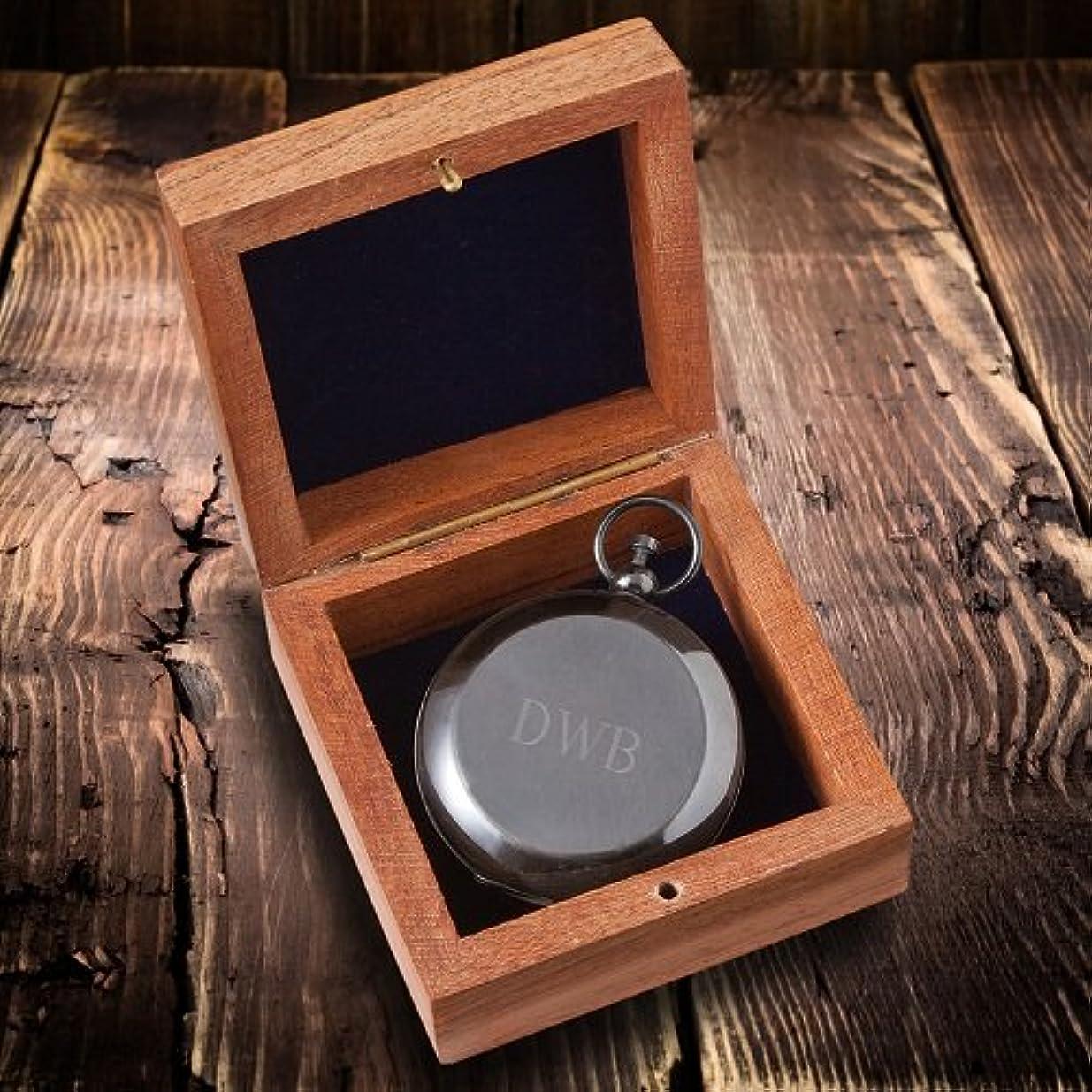 特権コンベンションに応じてPersonalizedガンメタル記念品コンパスwith Woodenボックス – 3イニシャル