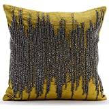 Handmade Chartreuse Cushions Cover, Gunmetal Beaded Cushions Cover, 45 x45 Throw Pillow Covers, Velvet Cushions Cover, Modern