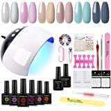 COSCELIA Gel Nail Polish Starter Kit with 24W LED Nail Dryer 6 Colors Gel Polish Set Base and Top Coat Manicure Tools and Dec