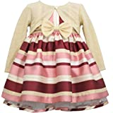 Bonnie Jean Holiday Christmas Dress - Maroon Stripe with Gold Cardigan for Baby, Toddler and Little Girls