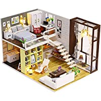 Molie 3d DIY家Miniモデル部屋家具ハンドメイドキットドールハウスBestギフトホーム装飾 – シンプルCity、接着のボタンバッテリーnoダストカバーMakingツール