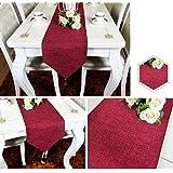 QiangZi テーブルランナーソリッドカラー亜麻リビングルームキッチンオフィスウェディングパーティホームデコレーションタッセル
