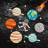 アップアップ(upup)DIY大人気うちゅう アイロンタイプ パッチワッペン惑星と宇宙飛行士12枚セット