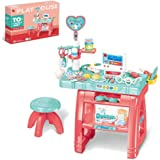 wodtoizi Kids Dentist Set Toy Medical Playset Dentist Toy Pretend Play Kids Doctor Kit w Table and Chair w Sounds and Lights