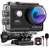 【4K/30FPS&2000万画素】COOAU アクションカメラ 手振れ補正 リモコン付き 1200mAhバッテリー2個…