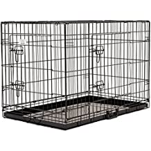 """24"""" (63cm) Double Door Metal Dog Cage Folding Pet Crate Portable Kennel Cat Rabbit Puppy House with Removable Tray"""