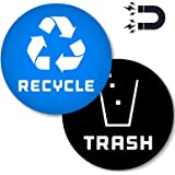 (4in x 4in) Recycle Logo and Trash can Magnetic Decal to Organize Your Trash - for Trash cans, Garbage containers and Recycle