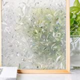 マドピタシート ガラスフィルム 防寒 結露防止 断熱 遮光 めかくし シート シール テープ 貼ってはがせる 窓に貼る目隠し 窓 すりガラス 網ガラスも適用(花信風 44.5 * 200cm)