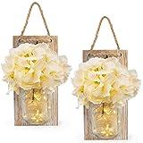 Vinkki Rustic Mason Jar Sconces for Home Decor Silk Hydrangea Flower Light Wall Decor with 3 Meters 30 LED Strip Lights 6 Hou