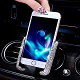 SUNACCL Bling Car Phone Holder Mini Car Dash Air Vent Automatic Phone Mount Universal 360°Adjustable Crystal Auto Car Stand P