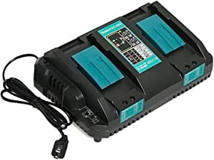 マキタ DC18RD 互換充電器 2口充電器 マキタ 14.4V/18Vリチウムイオンバッテリ 対応 BL1430 BL1440 BL1450 BL1460 BL1815 BL1830 BL1840 BL1850 BL1860 BL1430B BL1460B BL1830B BL1850B BL1860B など 充電可能 2本同時に充電 本体のみ 充電完了メロディー付き 1年保証