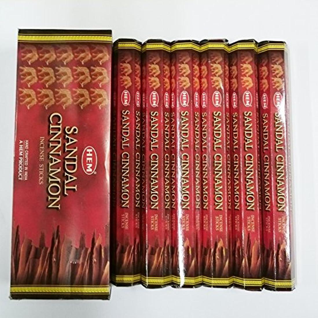 銀ありがたい男性HEM (ヘム) インセンス スティック へキサパック サンダル シナモン香 6角(20本入)×6箱 [並行輸入品]Sandal Cinnamon