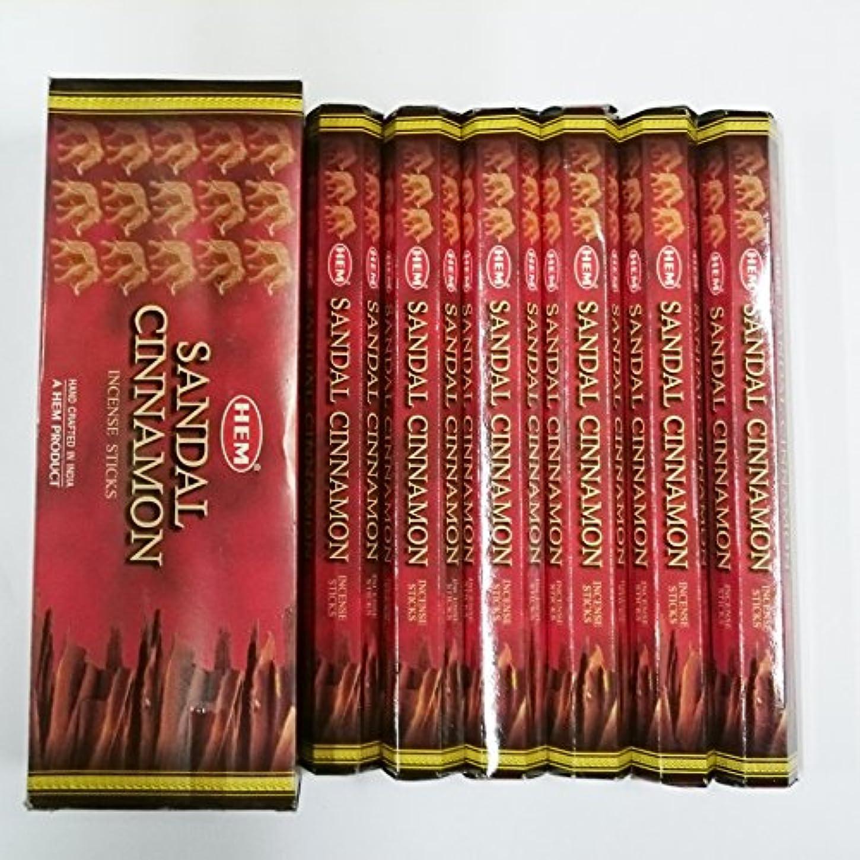 忍耐掘る噴出するHEM (ヘム) インセンス スティック へキサパック サンダル シナモン香 6角(20本入)×6箱 [並行輸入品]Sandal Cinnamon