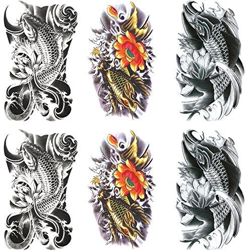 Qufan タトゥーシール 鯉 蓮の花 6枚セット 和柄 入れ墨シール リアル 大判 高品質 防水 長持ち 和彫り 刺青シール ボディーシール 子供 メンズ レディース 手、腕、足、体、胸、肩、背中に簡単貼る TATOO 15x21CM (A)