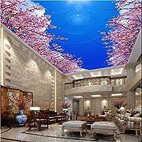 Weaeo ブルースカイ雲の花天井の壁紙天井の壁紙の壁紙桃の花のリビングルームベッドルーム3D壁紙ロール-400X280Cm