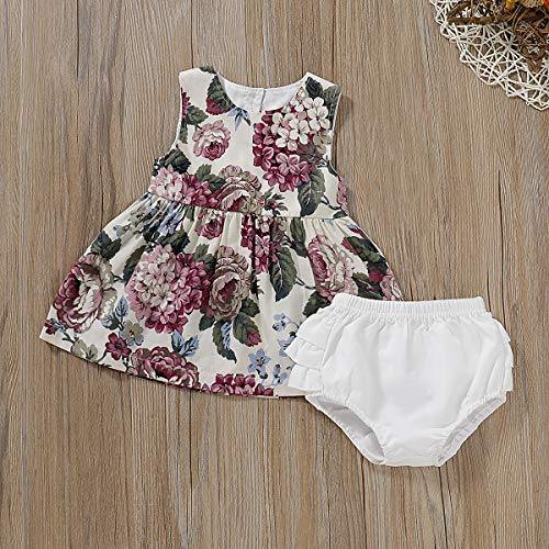 YOUNGER TREE 2Pcs Toddler Baby Girls Summer Clothing Sleeveless Flora Tops + White Panties Short Sets Outfits - White - 6-12 Months