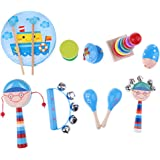 Perfeclan Kid Wooden Toy Percussion Musical Instrument Set, Handle Wooden Bells Jingle Stick Shaker Rattle Drum, Jingle Bells
