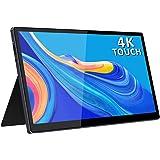 4K USB C Portable Monitor,15.6 Inch 3840×2160 Touchscreen with Dual Type-C/Mini HDMI Port for Laptop PC MAC Raspberry Pi 4 Ph