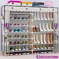 靴箱_ダブル列、8層、7グリッド、40ペア - 家庭の簡単な防塵ストレージラック(120 * 26 * 125センチメートル)
