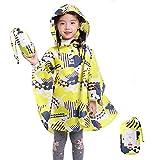 VirCal キッズ レインポンチョ レインコートレインウェア 男の子 女の子 雨具 かっぱ 撥水加工 ランドセル 対応 子供 収納袋付き イエロー