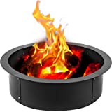 VBENLEM Fire Pit Ring 42-Inch Outer/36-Inch Inner Diameter 3.0mm Thick Heavy Duty Solid Steel Fire Pit Liner DIY Campfire Rin