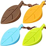 Silicone Door Stoppers Set - Leaf Style Rubber Stoppers Door Stopper Wedge Finger Protector Cute Door Stoppers with Holders S