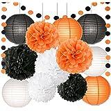 ハロウィン 飾り ハロウィン ペーパーポンポン 紙提灯 ガーランド 飾り セット ブラック ホワイト オレンジ