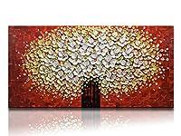 desihum抽象油彩絵画キャンバスのリビングルームベッドルームダイニングルーム 20*40 inch(50*100cm) レッド
