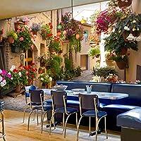 3D写真の壁紙、リビングルームのソファの背景の風景田舎の風景郷stal家と鉢植えの花壁の壁画280 cm(W)x 180 cm(H)