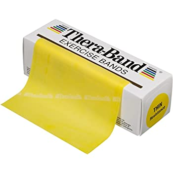 TheraBand セラバンド 黄色 イエロー シン (強度:-1) 標準サイズ(幅約 12.5cm × 長さ 5.5 m)