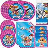 Unique Paw Patrol Girl Party Bundle | Luncheon & Beverage Napkins, Dinner & Dessert Plates, Table Cover | Great for Animated/Cartoon/Animal Birthday Themed Parties
