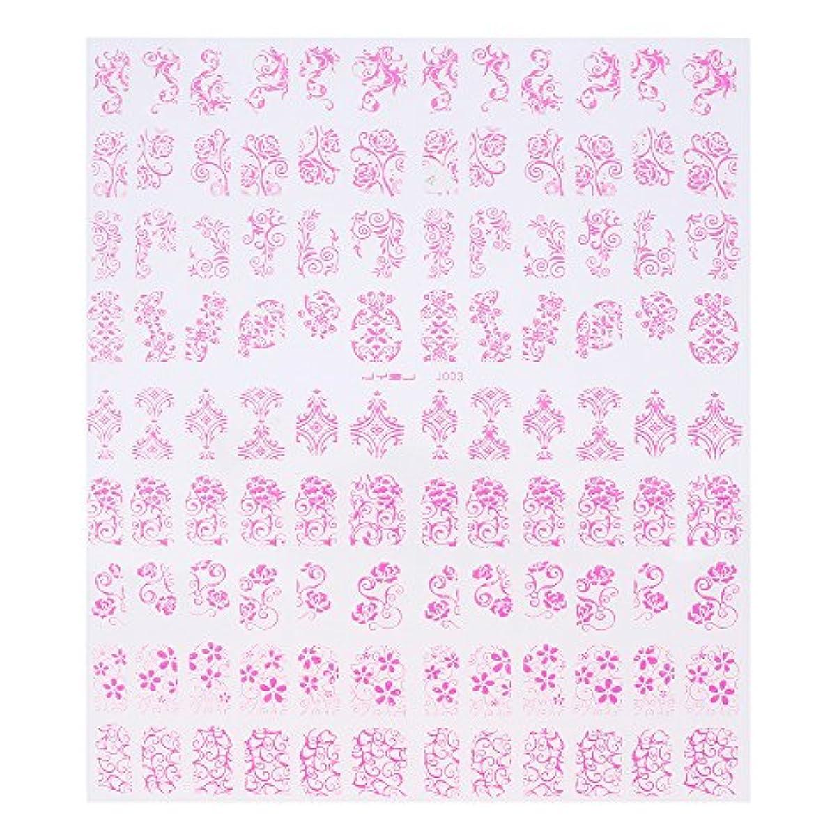 1シートチャームゴールドメッキ 花ネイルアート ステッカーネイルデカール ピンク