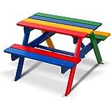 Keezi Kids Picnic Table Wooden Indoor Outdoor Garden Table Benches Set