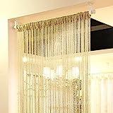Eyotool 1x2 M Door String Curtain Rare Flat Silver Ribbon Thread Fringe Window Panel Room Divider Cute Strip Tassel for Weddi