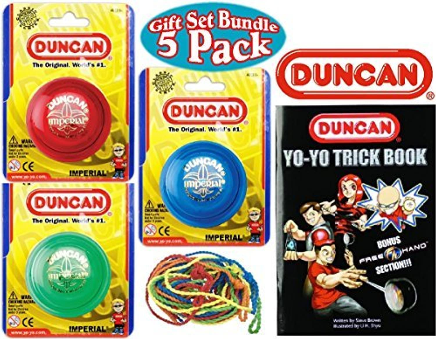 Duncan Yo-Yo Imperial (3), Trick Book & 10 Strings Deluxe Gift Set Bundle - 5 Pack (Assorted Colors) by Duncan [並行輸入品]