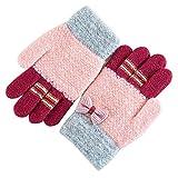 Caseeto 手袋 子供用 ニット グローブ 5本指 リボン手袋 保温 防寒 女の子 キッズ 通学 5-10歳に適用 (手袋, 赤い)