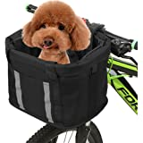 Goofly Folding Bike Basket with Reflective Strips Detachable Handlebar Front Basket Pet Cat Dog Carrier Bag Commuting Shoppin