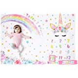"WERNNSAI Unicorn Baby Milestone Blanket -60"" × 40"" Soft Fleece Photography Background Blanket Weekly Monthly Girls Infant Qu"