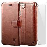 iPhone7 ケース 手帳型ケース TANNC 「強化ガラスフィルム付き」 財布型ケース レザーケース マグネット式 カード収納 ポケットホルダー付き スタンド機能付き ブラウン