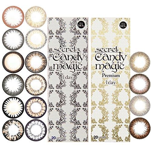 シークレット キャンディーマジック ワンデー 1箱20枚 14.5mm 度あり 度なし キャンマジ (-2.00, NO.5ブラック)