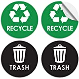 """Evolve Skins Recycle Sticker Trash Can Decal - 6"""" Large Recycling Vinyl - 4 Pack"""