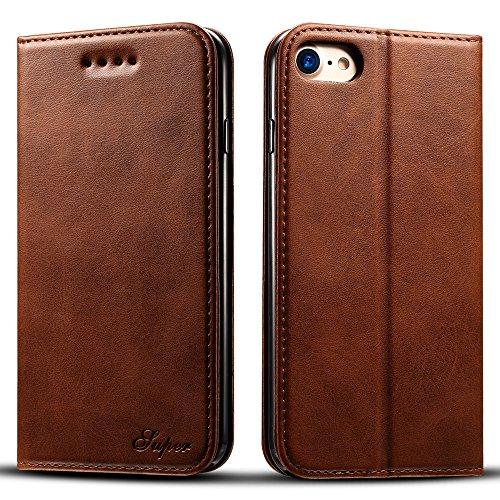 iPhone7Plus ケース 財布型ケース アイフォン7プラス レザーケース カードポケット スタンド機能 2つ折り 衝撃防止 全面保護 ブラウン