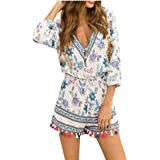 Women V Neck Printted Tassels 3/4 Sleeve Short Jumpsuit Rompers