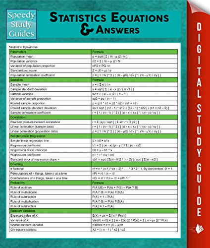 Download Statistics Equations & Answers: Speedy Study Guides (English Edition) B00NBEL9MU