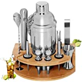 BRITOR Cocktail Set Bartender Kit,Cocktail Shaker Set with Bamboo Stand 12 Piece Bartending Tools 25 oz Professional Stainles
