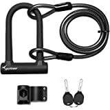 Sportneer Bike Lock Set Anti Theft Heavy Duty U Shackle Bicycle U Lock with 5 Ft Security Steel Combination Chain Cable for R