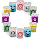 12 Pack of Scented Candles, Soy Wax Votive Candles with 6 Fragrances, Aromatherapy for Holiday Gift, Home Decor, Wedding and
