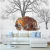 Wapel カスタム写真の壁紙ステッカー北欧の冬の雪の森タイガー背景の壁面装飾画 200 Cmx 140 cm