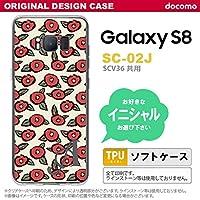 SC02J スマホケース Galaxy S8 ケース ギャラクシー S8 イニシャル つばき ベージュ nk-sc02j-tp1701ini M
